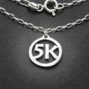 5K Charm Necklace | Sterling Silver | 18 inch Silver Chain