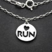Love 2 Run Charm Necklace | Sterling Silver | 18 inch Silver Chain