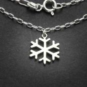 Snowflake Charm Necklace | Sterling Silver | 18 inch Silver Chain