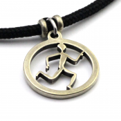 Running Guy Spirit Pendant | White Bronze | 3mm Polycord