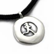 Running Gal Disc Pendant | Sterling Silver | 2mm Polycord