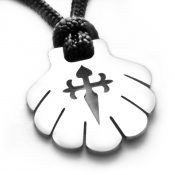 Camino Shell & Cross Pendant | Stainless Steel | 3mm Polycord