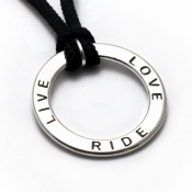 Live Love Ride Ring Pendant | Sterling Silver | Polycord