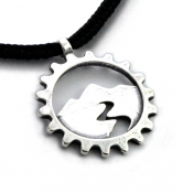 Mountain Spirit Cog Pendant | Sterling Silver | 2mm Polycord