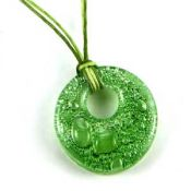 Green Circle Pendant | Fused Glass
