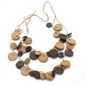 Plum & Butter Stones & Moon Necklace | Ceramic
